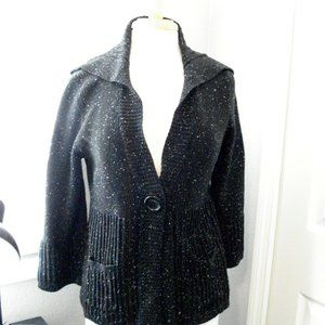 Cotton Bulky Textured Front Snap Cardigan Sweater